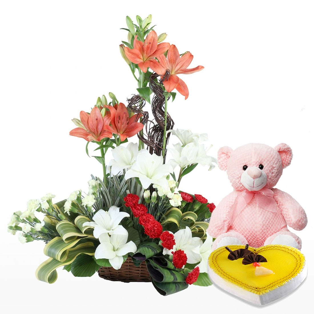 Exclusive Basket Arrangement of Flowers. With Heart Shape Cake And ...