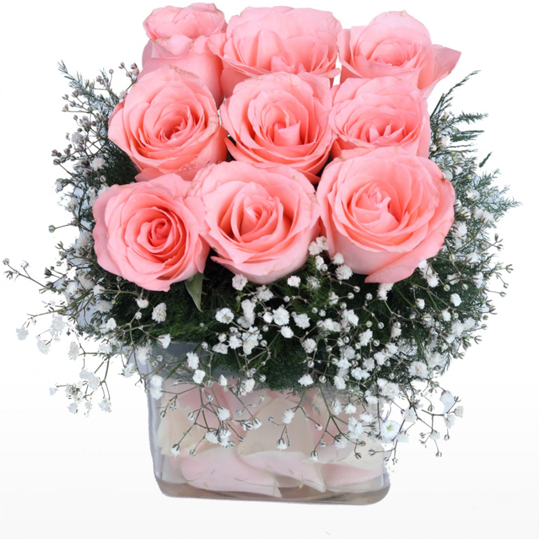 9 Pink Roses In Small Vase