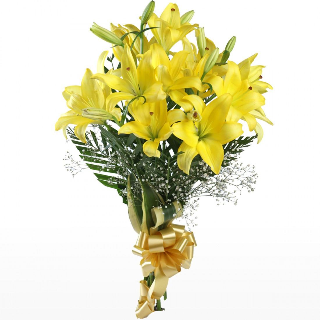 Hand Tied Bunch Of 6 Yellow Lilies