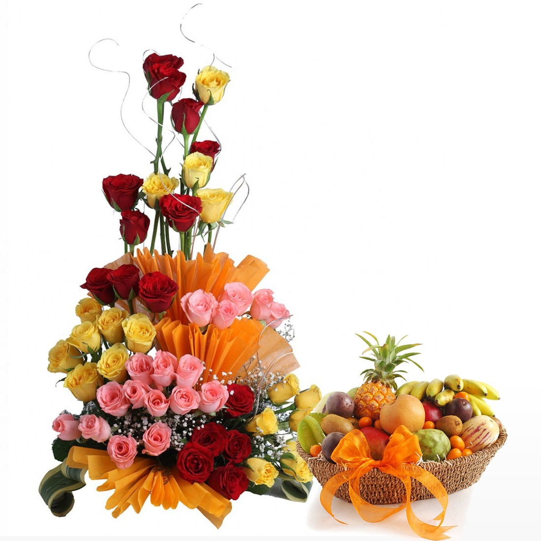 50 Mix Color Roses Basket Arrangement With Mix Fresh Fruits