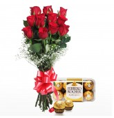 Hand Tied Bunch Of 12 Red Roses With Chocolates