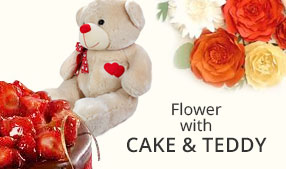 Send Flowers with Cake & Teddies to India