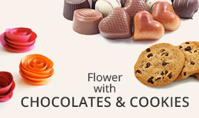 Send Flowers with Chocolates & Cookies to India